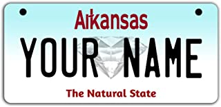 BleuReign(TM Personalized Custom Name Arkansas State Motorcycle Moped Golf Cart License Plate Auto Tag