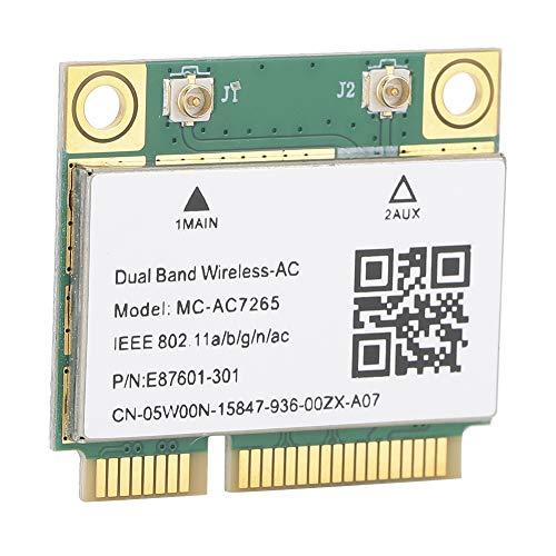 GUSTAR Mini Tarjeta de Red, Tarjeta de Red Mini PCI-e Gigabit de Doble Banda 2.4 / 5g, Tarjeta de Red inalámbrica, Adecuada para Bluetooth 4.2 Wireless WiFi Mc-ac7265