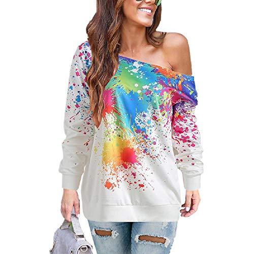 Europa und Amerikas Top Style Damen-Sanitär Kleidung Herbst und Winter Neue Diagonale Schulter Spray Painting Bedruckt Damen-T-Shirt Gr. M, weiß