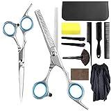 12 Pcs HairCutting Scissors Set, Professional Hair Cutting Kits, Thinning Shears, Hair Razor Comb, Clips, Cape, Sponge, Sharp Tail Comb, Case, Shears Kit for Home, Upgraded Haircut Set