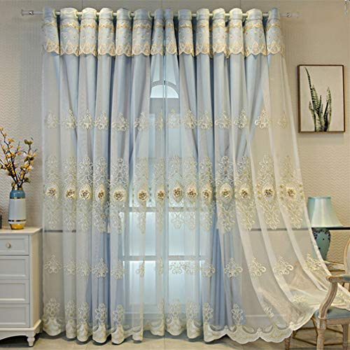 Grey Blackout Curtains for Bedroom White Sheer Tulle Panel Overlay,Solid Panels Double Layer Thermal Insulated Soundproof Eyelet Drapes for Living Room Nursery Double Deck Energy Saving Curtains 1pc