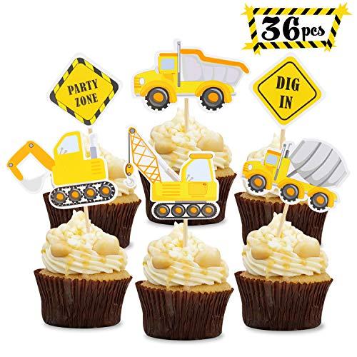 36 PCS Construction Theme Cupcake Toppers Construction Signs Trucks Trators Excavators Cake Decorations Construction Zone Party Baby Shower Baby Sprinkle Kids Birthday Party Favors Pre-assembled