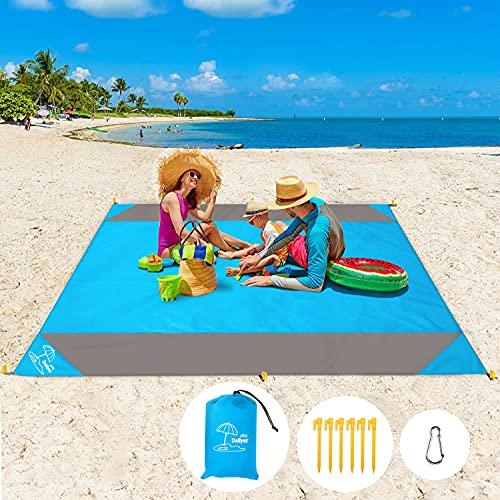 Daliyer Picknickdecke, Stranddecke Wasserdicht 210 x 200, Strandmatte mit Tasche und 6 Befestigungsecken, Picnic Blanket Matte für Picknicks, Camping, Strand, Wandern und Ausflüge ( Blau )