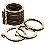 Pllieay 12 Pieces 3.5 Inch Wooden Round Embroidery Hoops Adjustable Wood Circle Cross Stitch Hoop Ring Bulk Wholesale for Home Ornaments, Art Craft Handy Sewing