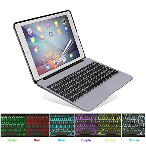 HIOTECH - Teclado para iPad Pro 12.9 (inalámbrico, con 7 Colores, retroiluminación LED, Teclado de Aluminio Delgado, con Funda de Clip y Protector de Pantalla de Cristal Templado), Color Gris