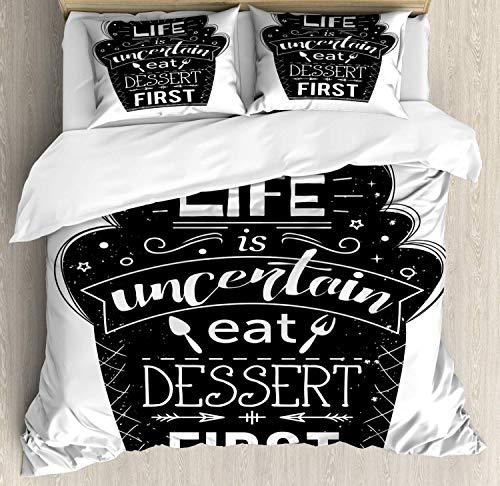 Eat Dessert First 4-teiliges Bettbezug-Set, Life is Uncertain Happy Food, Typografie auf abstraktem Kuchen, Mikrofaser-Daunendecke mit Reißverschluss, Anthrazit / Weiß Doppelbett Mehrfarbig 1750