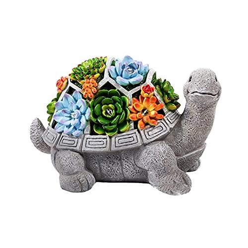 Figura de tortuga de jardín, estatua solar para jardín al aire libre con 7 adornos de luz LED, regalo impermeable