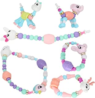 XAUIIO Magical Twist Animal Pet Bracelet, 7Pcs Different Animals Fun DIY Changeable Pull Apart Acrylic Beaded Necklace Toy for Girls Boys