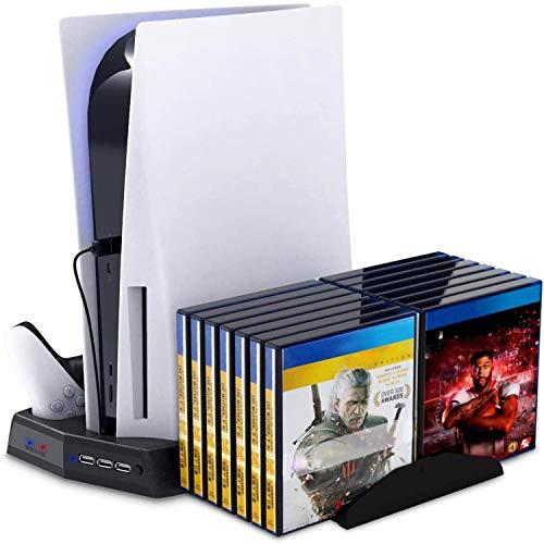 ECOSI Soporte Vertical con Ventilador de Refrigeración para Playstation 5, Soporte PS5 con con 14 Bandejas de Almacenamiento de Discos de Juegos Retráctiles para Playstation 5 Console