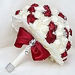 kupark wedding rose diamond bouquet bride bridesmaid red white artificial romantic holding flower decoration