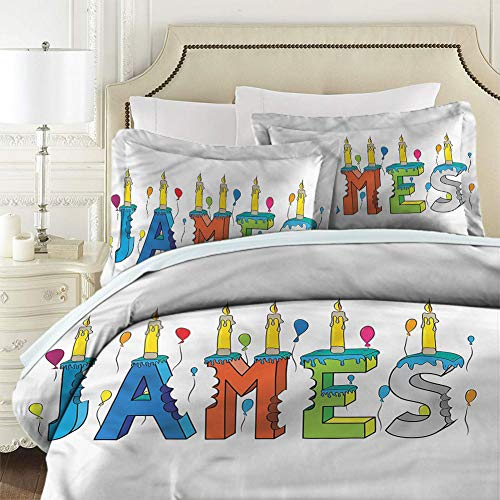 Duvet Cover Set with Zipper James Birthday Candle Pattern Comforter Cover Washed Microfiber Queen Size