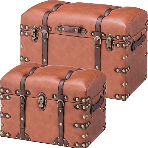 AZUMAYA IW-876276 Trunk Storage Box Stool Light Brown