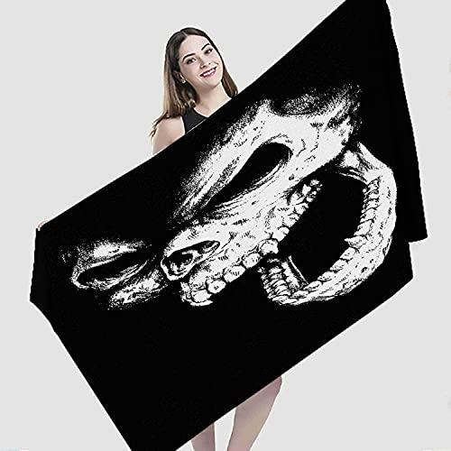 "Art Beach Towel,Doodle Skull Face Horror Evil Art Head Bandana Wolf Illustration,Microfiber Super Absorbent Beach Blanket for Travel Beach Camping Swimming Outdoor Towel Mat,27""x55"""