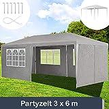 ArtLife Partyzelt 3x6 m grau mit 6 Seitenwände – Pavillon wasserabweisend & stabil – Festzelt für Garten, Terrasse, Party - Bierzelt