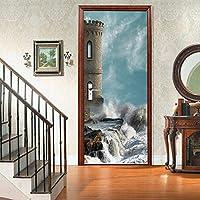 sesemao3Dインテリアドアベッドルームステッカードアステッカー防水粘着紙リビングルームベッドルームオフィスファミリー中世タワーコースト-90 * 200