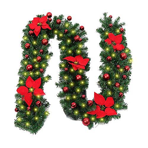 Morbuy Décoration de Noël Lumineuse Guirlande de Sapin, Intérieur Extérieur LED Mode 8 à Distance Vert Décor de Noël pour Mariage Anniversaire Fête Les Escaliers de Porte 270 cm (Rouge)
