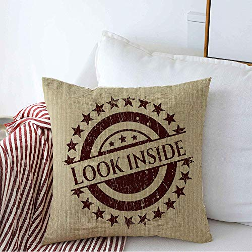 Decorative Throw Pillow Cover Audience Look Inside Team Funny Rubber Abstract Antique Blank Brush Buy Nice Cheerful Circle Round Cozy Square Cushion Covers 16 x 16 Inches for Bench Bedding Car
