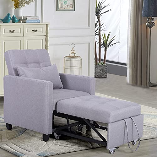 Sophia & William Chair Bed Sleeper Convertible Sofa Bed 3-in-1 for Adult Lounger Chair Pull Out Sleeper Chair Multi-Functional Adjustable Back Recliner Bed Movable with Wheels Supports 350lbs Grey