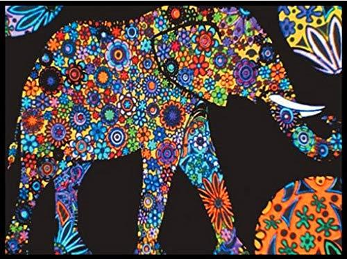 Terciopelo colorvelvet de 47x35 cm para colorear con caja de rotuladores - Elefante