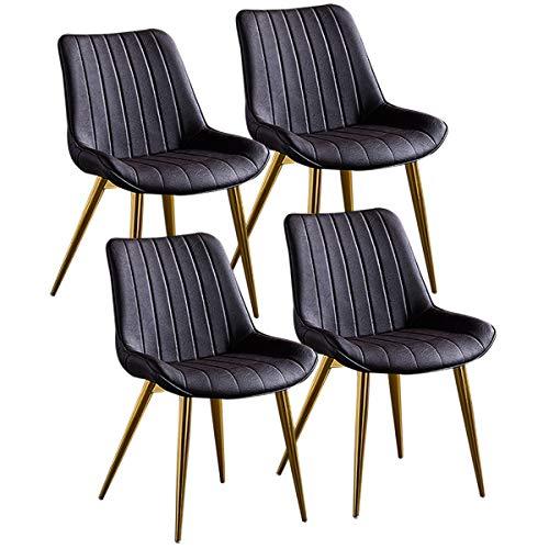 ZYXF Esszimmerstuhl Set von 4 PU-Leder Dining Chair Küchenstuhl mit goldenen Metallbeinen Sitz und Rückenlehne for Lounge Room Corner Stühle Rezeption Stühle (Color : Dark Brown)
