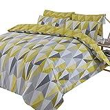 Dreamscene Billie - Set di biancheria da letto reversibile con motivo geometrico a triangolo, super king, in policotone 50% cotone, colore: giallo ocra nero, grigio, super king