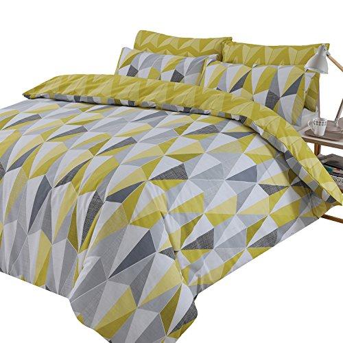 Dreamscene Billie - Juego de Funda nórdica y Funda de Almohada Reversible, diseño geométrico, Color Amarillo Ocre Negro y Gris