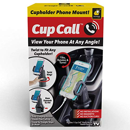 Official As Seen On TV Cup Call Cup Holder Phone Mount for Car by BulbHead - Adjustable Cell Phone Holder Fits Any Phone in Any Cup Holder - Rotates 360°, Tilts & Moves Left or Right