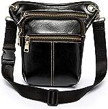 XUELI Men's Leather Waist Pack Drop Leg Bag for Women Belt Bum Bag Fanny Pack Waist Thigh Hip Bum Belt Messenger Shoulder Bag Travel Motorcycle (Black)