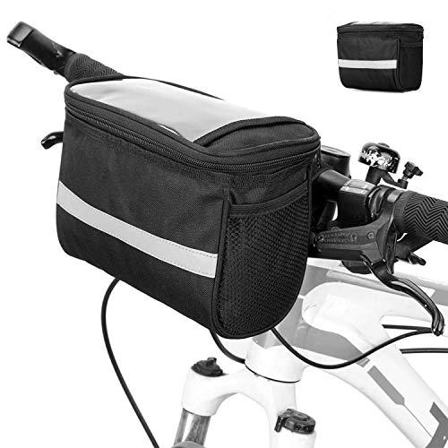 OAMOI Fahrrad-Lenkertasche, multifunktional, wasserdicht, mit Reflektorstreifen, für Mountainbike, Rennrad, Fahrradzubehör