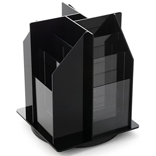 Spinning Tabletop Brochure Holder for 4x9 Literature, 12 Tiered Pockets, 360 Degree Rotating Design for Countertop Use - Black Acrylic
