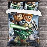Le-go Star Wars Wallpaper- Juego de funda de edredón de 3 piezas (1 funda de edredón y 2 fundas de almohada) de microfibra