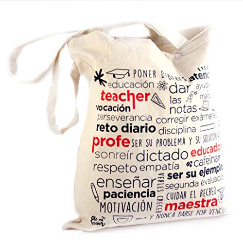 OleMyTeacher Bolsa de Tela para Profesora - Tote Bag - Algodón Natural - Asas Largas - Reutilizable - Bolsa Hombre, Mujer - para profes, Maestros, educadores Resistente