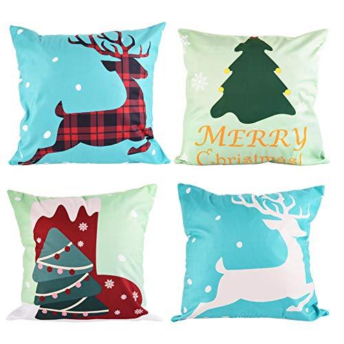 WXJ13 kussensloop voor Kerstmis, 4 stuks, kussensloop, zacht kort, pluche sierkussensloop voor bank, bed en auto, 18 inch x 18 inch