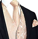 Brand Q 3pc Paisley Vest Set-20-DD-Peach-XL