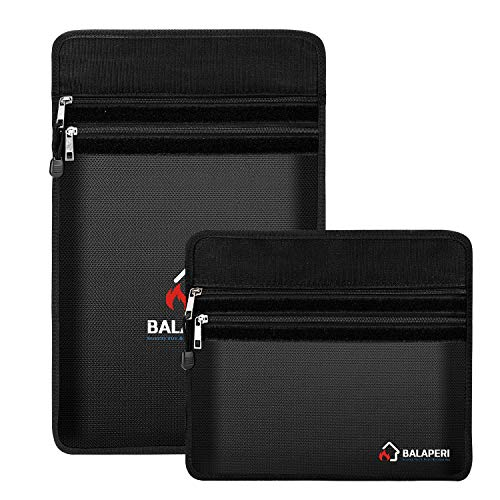 """BALAPERI Fireproof Document Bags Two Pockets,Non-Itchy Silicone Coated Waterproof Document Pouch,15""""x 11""""and 12""""x 8""""Fireproof Boxes, Money Storage for Documents,Cash,Money,Valuables"""