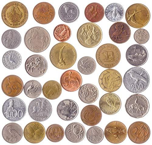 10 monedas diferentes con animales, pájaros, escarabajos, peces, crustáceos, insectos, MOLLUSCOS, ARACNIDS, reptiles, mamíferos