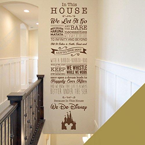Sticker mural avec inscriptions en anglais tirées de films de Disney pour chambre d'enfant ou salle de jeux - La Fée Clochette, Toy Story, la Petite Sirène, Le Roi Lion, doré, Large (1520 x 435mm)