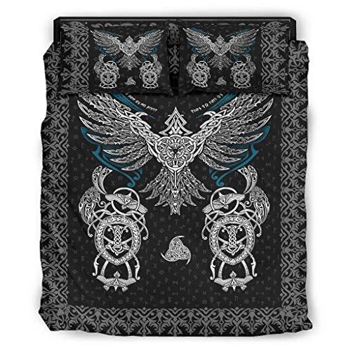 Viking Shield Set di 4 copripiumini e federe – Morbido e leggero – Set di lenzuola bianco 5 228 x 264 cm