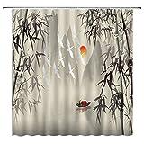 Asiatischer Bambus-Duschvorhang, Boatman, Floß, Fee, Vögel mit Nebel Berg, Dekor, Orientalisch, Antik Natur, Beige Grau Stoff Badezimmer Set Haken enthalten