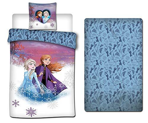 AYMAX S.P.R.L. Frozen - Juego de ropa de cama, funda nórdica de 140 x 200 cm + funda de almohada + sábana bajera de 90 x 190 cm