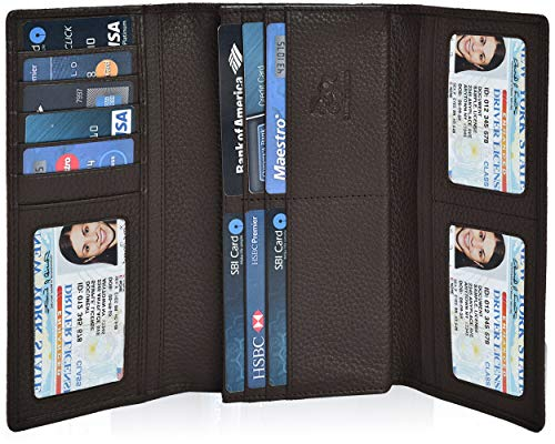 Leather Wallets for Women - RFID Blocking Checkbook Wallet with 11 Card Slots (Walnut, 7.6X4X0.8)