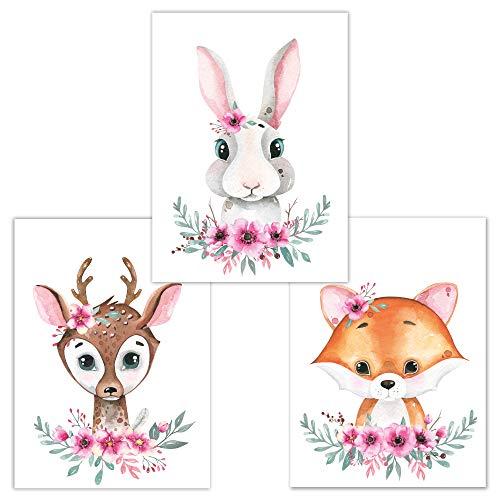 Little Fairy Tales Woodland Animals - Juego de 3 piezas de arte de pared DINA4, decoración de habitación infantil, con diseño de animales, accesorios de dormitorio para niños y niñas