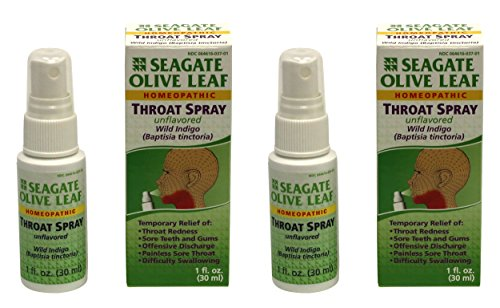 Seagate Products Homeopathic Olive Leaf Throat Spray 1 ounce Unflavored 2pack