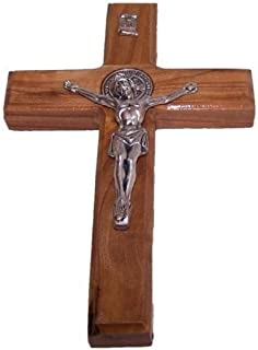 Handcarved St Benedict Cross Saint Benedict Crucifix Medal Made of Olive Wood From Holy Land by Bethlehem Gifts TM (10 inches)