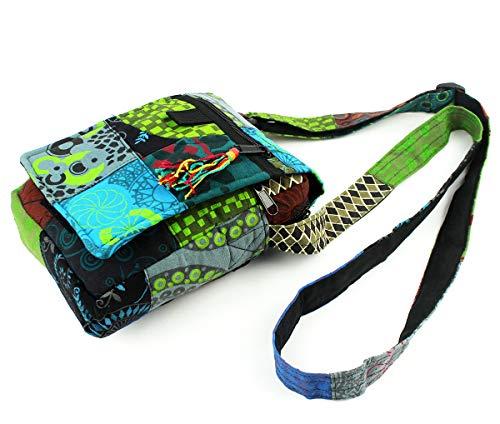 Bolso Étnico Bandolera Cruzada de Hombro para Hombre y Mujer Unisex Estampados Variados y Coloridos (18x20x4cm) (PB-01 Multicolor)