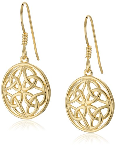 18k Yellow Gold Plated Sterling Silver Celtic Knot Round Drop Earrings