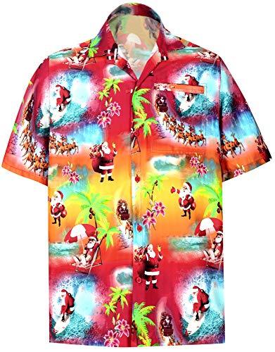 HAPPY BAY Christmas Kostüme Thema Weihnachtsmann Geschenke Weihnachtsdruck Urlaubs Party Party Casual-Taste unten Aloha Hawaii-Hemd Weihnachtshemd Weihnachtsbaum Hemd Rot_AA19 5XL