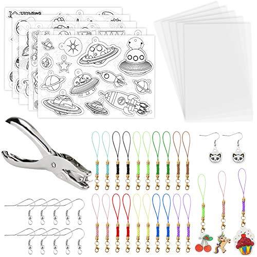 VGOODALL Schrumpffolien Set mit Schlüsselanhänger, 10 Blatt A4 Schrumpfende Plastikfolie für Kinder Basteln DIY Geschenk Ohrring Handwerk
