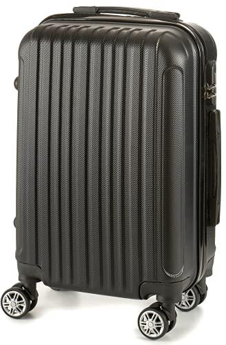TIENDA EURASIA® Maletas de Viaje Tamaño Cabina - Material Rígido ABS - Maleta con Ruedas Giratorias 360º - Bloqueo de Código - 22 x 57 x 37,5 cm (Negro)