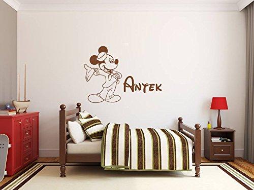 Nom de l'enfant autocollant mural personnalisé et Mickey Mouse. Sticker mural avec le nom d'un enfant et Mickey Mouse. Une belle décoration murale avec le nom d'un enfant. Mickey mouse avec ballon